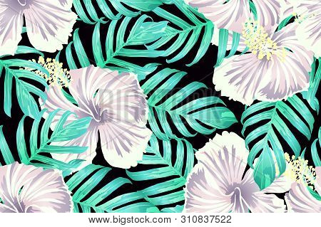 Cyan Exotic Pattern. Monstera And Hibiscus Flowers Tropical Bouquet. Saturated Large Floral Swimwear