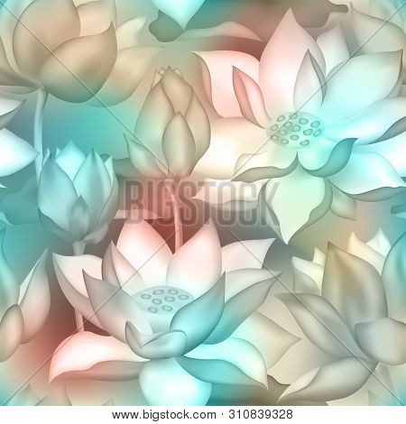 Lotus Buds And Flowers Seamless Vector Pattern. Water Lilly Nelumbo Aquatic Plant Botanical Design.