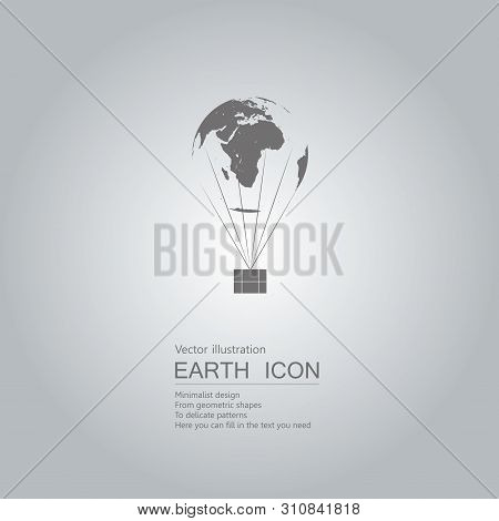 Earth Hot Air Balloon. Isolated On Grey Background.