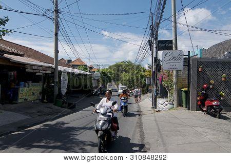 Canggu, Bali, Indonesia - 12th June 2019 : Street View Of Jalan Pantai Beravwa Road, The Famous Stre