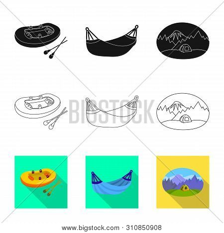 Vector Illustration Of Cookout And Wildlife Logo. Collection Of Cookout And Rest Vector Icon For Sto