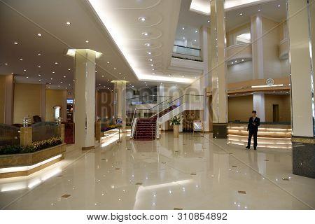 Myohyang, North Korea - April 30, 2019: Interiors Of The Modern Hyangsan Hotel. Hyangsan 5 Star Hote