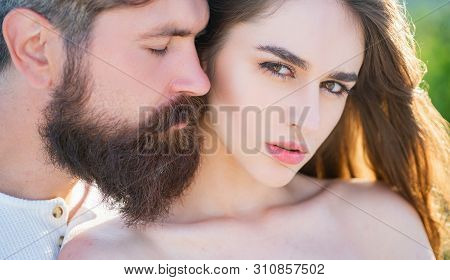 Embrace And Kiss For Couple In Love. Young Lovers Couple. Beautiful Young Sensual Woman Love Affecti