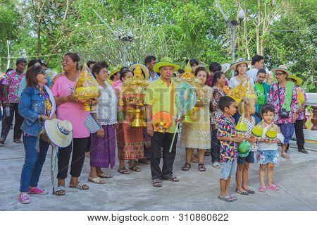 Ratchaburi-thailand, April 14 : Ordination Ceremony Parade In Buddhist Thai Monk Ritual For Change M