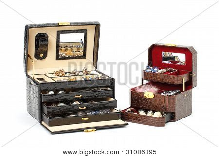 Leather Box For Cosmetic Or Jewelry