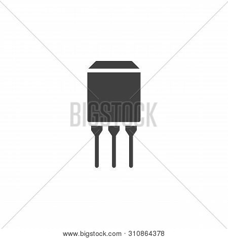 Semiconductor Chip With Three Connections Vector Icon. Filled Flat Sign For Mobile Concept And Web D