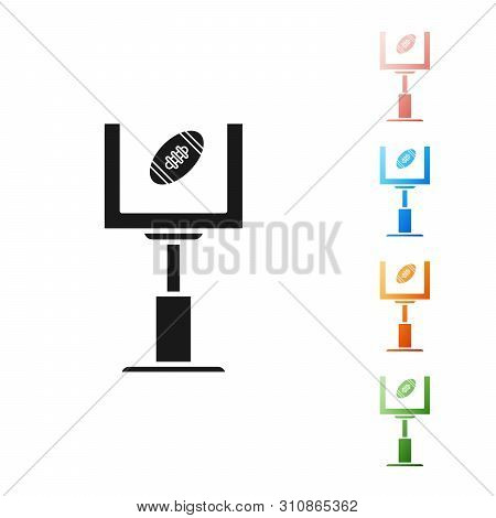 Black American Football Goal Post And Football Ball Icon Isolated On White Background. Set Icons Col