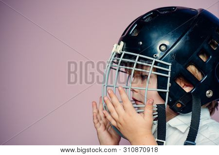 Protective Grid On Face. Sport Equipment. Hockey Or Rugby Helmet. Sport Childhood. Future Sport Star