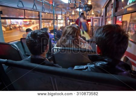 S The Main Mass Transit Passengers In The Bus. People In Old Public Bus, View From Inside The Bus .