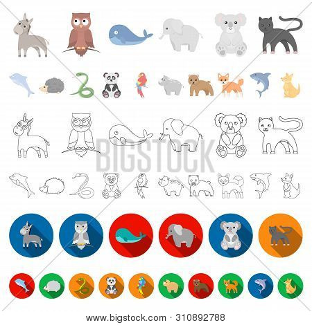 An Unrealistic Animal Cartoon Icons In Set Collection For Design. Toy Animals Bitmap Symbol Stock We