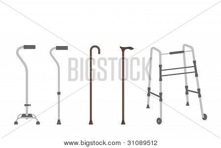 Set of senior walking sticks