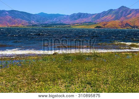 Whitecaps On The Lake Caused From The Wind Taken At Lake Isabella, Ca Which Is Surrounded By Lush Gr