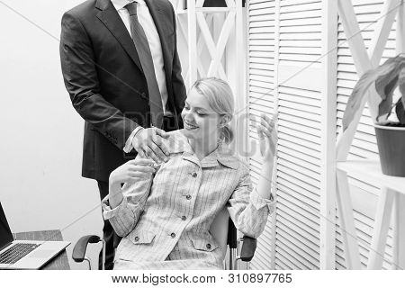 Office Woman And Her Lustful Boss. Lustful Boss Touching. Mad At Colleague.
