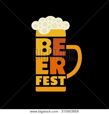 Beer Fest Hand Drawn Flat Color Vector Icon. Beer Festival Typographic Fancy Letters Design Element.