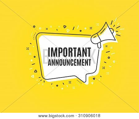 Important Announcement. Megaphone Banner. Special Offer Sign. Advertising Discounts Symbol. Loudspea