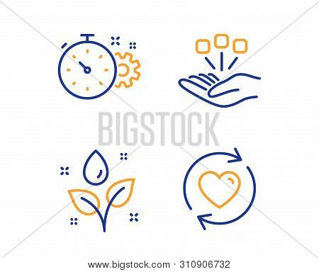 Cogwheel Timer, Plants Watering And Consolidation Icons Simple Set. Update Relationships Sign. Engin