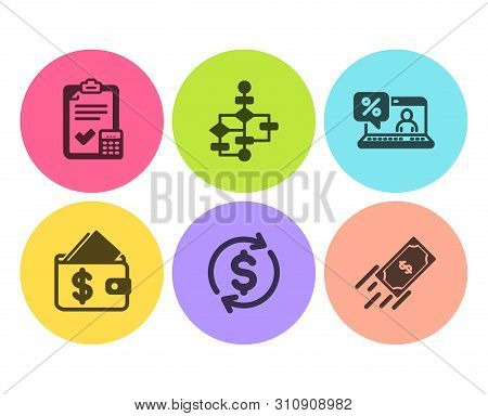 Wallet, Usd Exchange And Accounting Checklist Icons Simple Set. Block Diagram, Online Loan And Fast