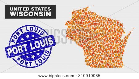 Vector Composition Of Fire Wisconsin State Map And Blue Round Distress Port Louis Stamp. Orange Wisc