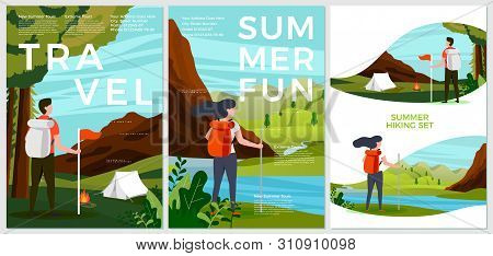 Vector Summer Posters Set - Tourist People With Backpack, Forest And River Campsite, Mountains, Tree