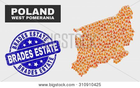 Vector Composition Of Fire West Pomeranian Voivodeship Map And Blue Round Textured Brades Estate Sea