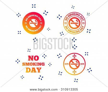 No Smoking Day Icons. Against Cigarettes Signs. Quit Or Stop Smoking Symbols. Random Dynamic Shapes.