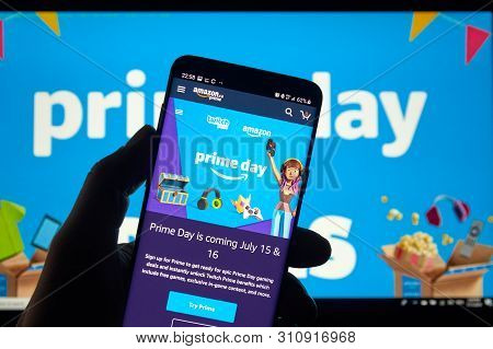 Montreal, Canada - July 11, 2019 : Amazon Prime Day Page And Twitch Logo On Phone Screen Over Amazon
