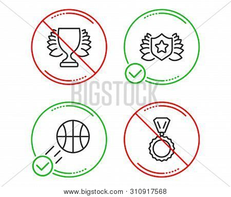 Do Or Stop. Winner, Laureate And Basketball Icons Simple Set. Medal Sign. Sports Achievement, Award
