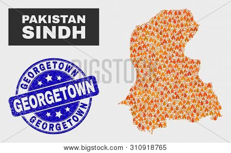 Vector Collage Of Flame Sindh Province Map And Blue Rounded Grunge Georgetown Stamp. Fiery Sindh Pro