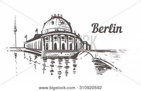 Berlin Museum Island Sketch. Berlin, Germany Hand Drawn Illustration