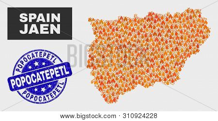 Vector Collage Of Fire Jaen Spanish Province Map And Blue Round Grunge Popocatepetl Watermark. Orang