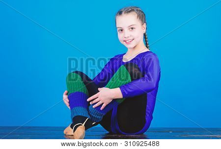 Rhythmic gymnastics sport combines elements ballet dance. Minute to relax. Girl little gymnast sports leotard. Physical education and gymnastics. Flexible body. Rhythmic gymnastics girlish sport poster