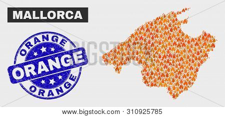 Vector Composition Of Flame Mallorca Map And Blue Rounded Scratched Orange Seal Stamp. Orange Mallor