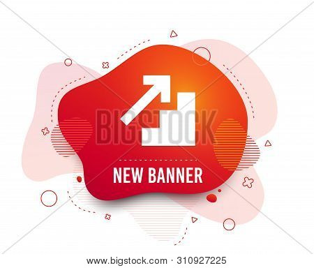 Fluid Badge. Upstairs Icon. Up Arrow Sign. Abstract Shape. Gradient Upstairs Icon. Flyer Liquid Bann