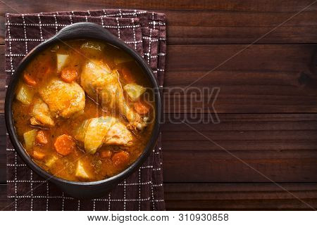 Fresh Homemade Chicken Stew With Potato, Carrot And Celery, Seasoned With Paprika In Rustic Bowl, Ph