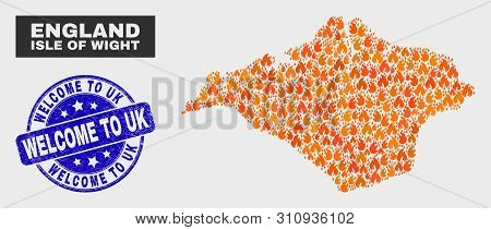 Vector Composition Of Fire Isle Of Wight Map And Blue Round Textured Welcome To Uk Seal Stamp. Fiery