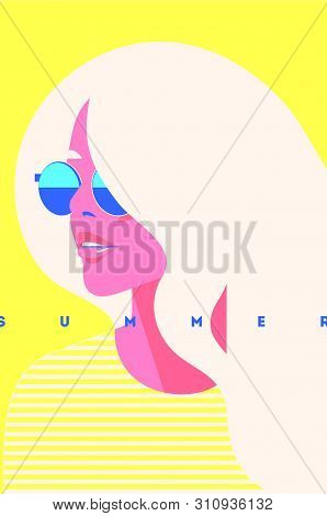 Summer Fashion Portrait Of A Blondie Model Girl With Sunglasses. Retro Trendy Yellow Color Poster Or