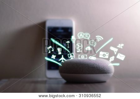 Smart Home Assistant Device, Virtual Assistant , Artificial Intelligence, Iot Internet Of Things Con