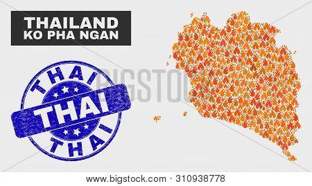 Vector Collage Of Fire Ko Pha Ngan Map And Blue Round Grunge Thai Stamp. Fiery Ko Pha Ngan Map Mosai