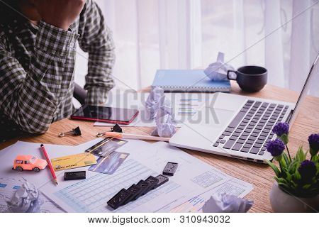 Office Table With Worried Businesswoman, Concept Of Owe Business.