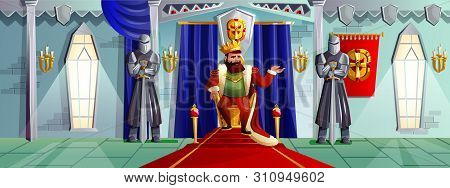 Castle Room Vector Cartoon Illustration. Ballroom Interior In Medieval Palace With King In Golden Cr