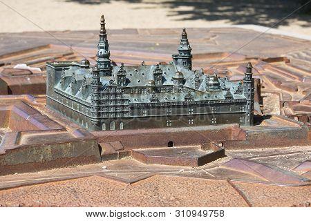 Helsingor, Denmark - June 23, 2019: Medieval Kronborg Castle On The Oresund Strait, Miniature For Th