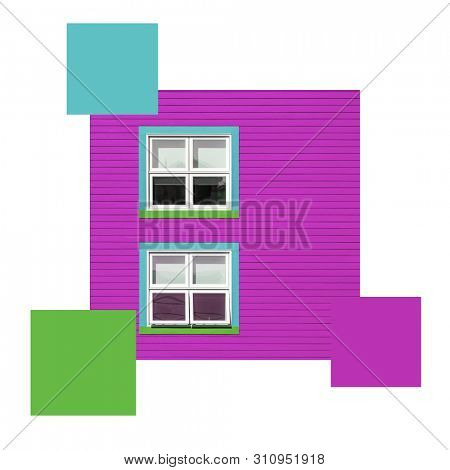 Colourful windows on a purple wall, set with colour swatches and space for text. Colour scheme themed image.