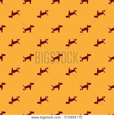 Red Dog Pooping Icon Isolated Seamless Pattern On Brown Background. Dog Goes To The Toilet. Dog Defe