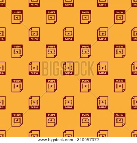 Red Mp4 File Document Icon. Download Mp4 Button Icon Isolated Seamless Pattern On Brown Background.
