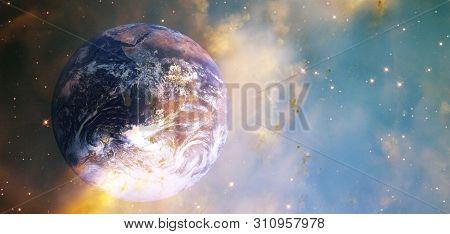 Sunrise On The Earth. Planet Earth In The Sunlight. View From The Space . Planets Of Solar System. C