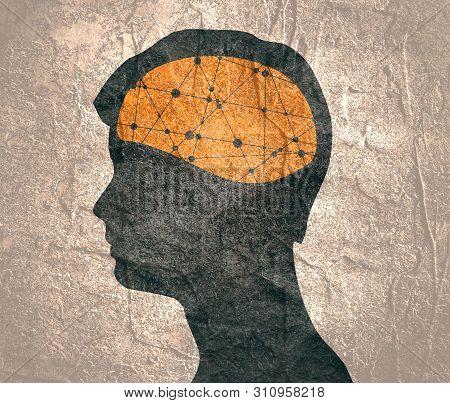 Man Avatar Profile View. Male Face Silhouette Or Icon. Mental Health Relative Icon. Scientific Medic
