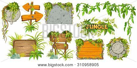 Set Cartoon Game Wooden And Stone Panels In Jungle Style With Space For Text. Isolated Gui Elements