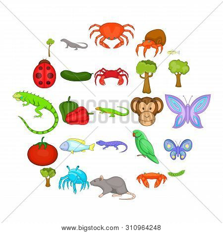 Crustaceans Icons Set. Cartoon Set Of 25 Crustaceans Icons For Web Isolated On White Background