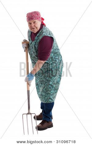 Active Elderly Woman Holding Pitchfork 2