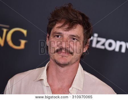 LOS ANGELES - JUL 09:  Pedro Pascal arrives for Disney's 'The Lion King' World Premiere on July 09, 2019 in Hollywood, CA